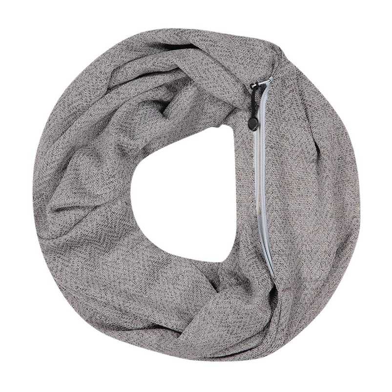Unisex Winter Solid Wool Warm Loop Scarf Zippered Secret Pocket Shawl Ring Women Printing Scarf Bufanda de las mujeres R29 (2)