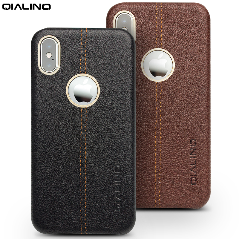 c38ce2cf9fa QIALINO Back Case for iPhone X Luxury Phone Cover Genuine Leather Ultra Slim