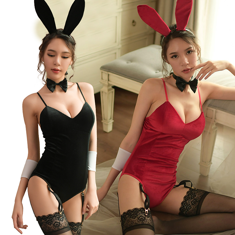 2019 Ladies Waiter Cosplay Costume Bunny Girl Suits Corduroy Sexy Cute Party Costumes Roleplay Lingerie Bodysuit Women Clubwear