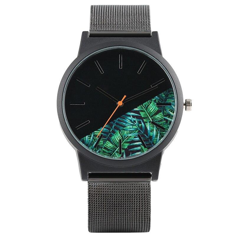 Fashion Design Men Quartz Wristwatch Mesh Stainless Steel Hook Buckle Creative Cool Plant Dial Casual Outdoor reloj Watch Gift цена 2016