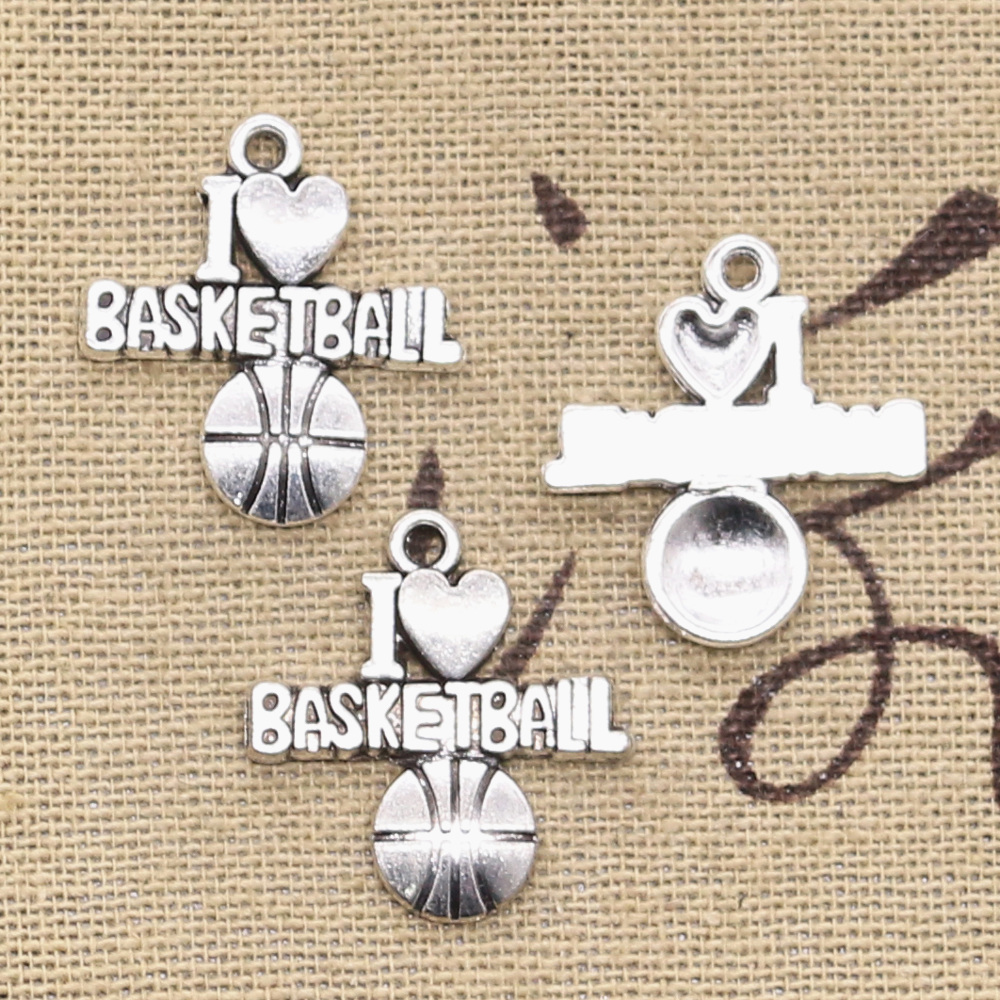 20pcs Charms I Love Basketball 21x20mm Antique Bronze Silver Color Pendants Making DIY Handmade Tibetan Bronze Jewelry