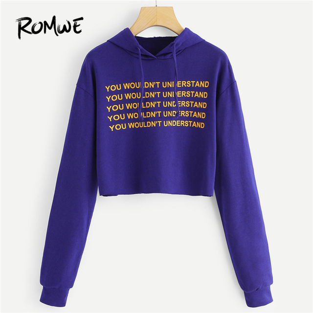 de6e0f76e5fa ROMWE Purple Drawstring Letter Print Sweatshirt Women Crop Hoodies ...