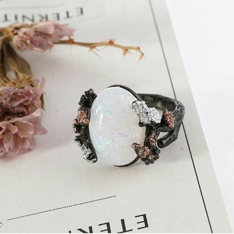 Vintage biały ognisty opal drzewo na imprezę z kwiatami obrączki kobiety moda kamień w stylu chińskim kwiat śliwy prezent biżuteria