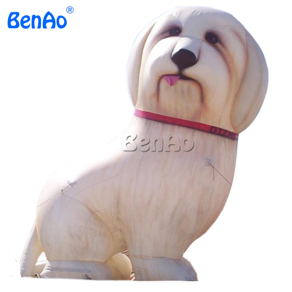 AC235 BENAO 4m Inflatable dog food package/Cute giant yellow inflatable sitting dog model/ inflatable dog replica for event