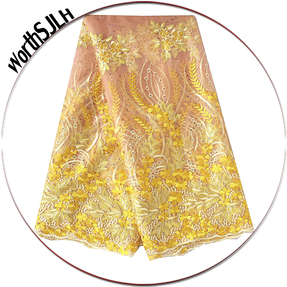 Latest 3D Lace Fabric 2018 High Quality Lace Yellow Peach Mesh Tulle African Lace Fabric Bridal