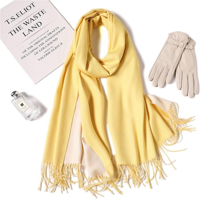 LaMaxPa Dropshipping Fashion Winter Cashmere Scarf Women Double Side Pashmina Shawls and Wraps Hijab Female Warm Bandana Foulard