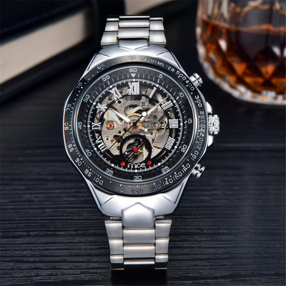 MCE Fashion brand Men Skeleton Mechanical Watch Stainless Steel Hand Wind Watches Transparent Steampunk Montre Homme