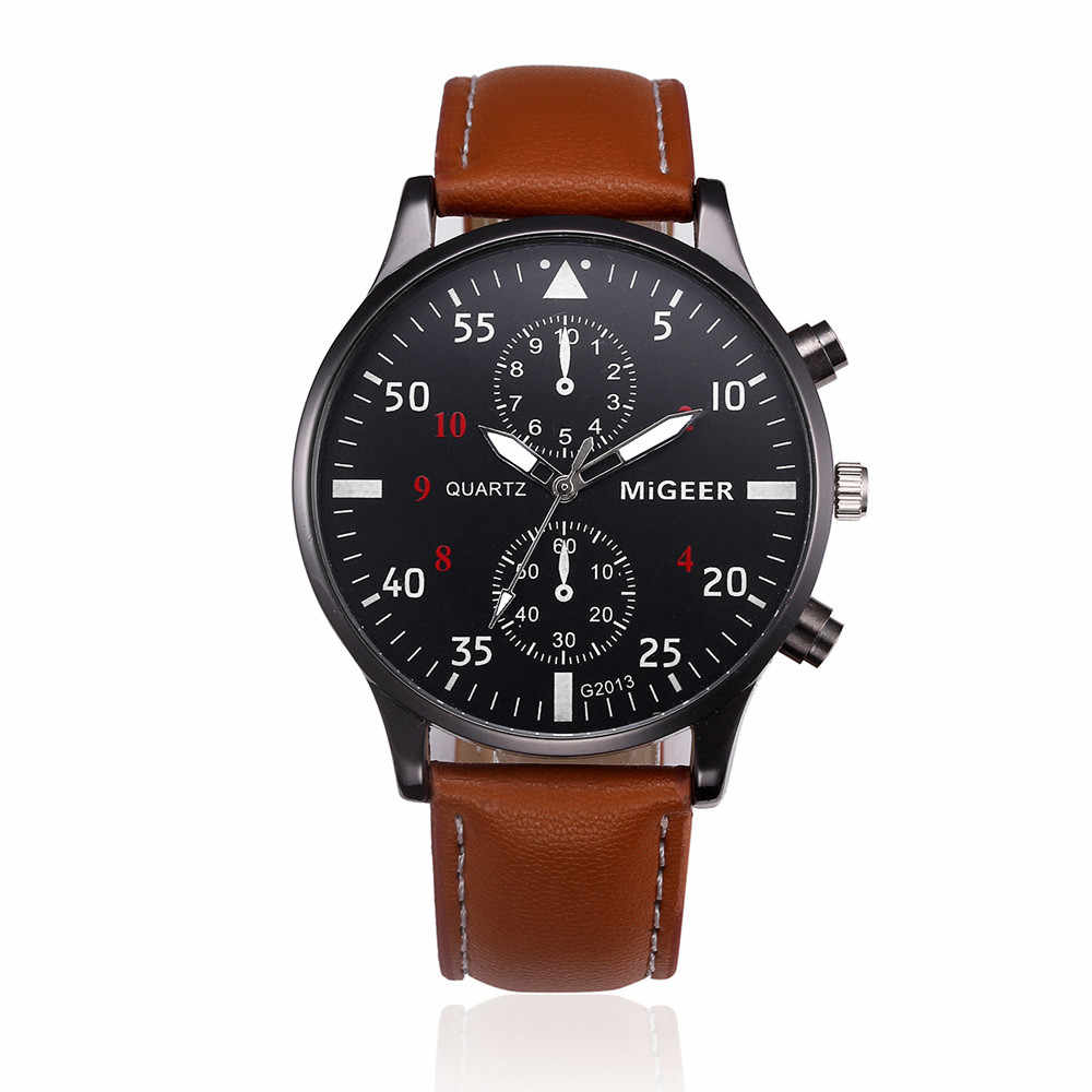 MIGEER 2018 Fashion Casual Mens Watches Luxury Leather Business Quartz-Watch Men Military Sport Wristwatch Relogio Masculino