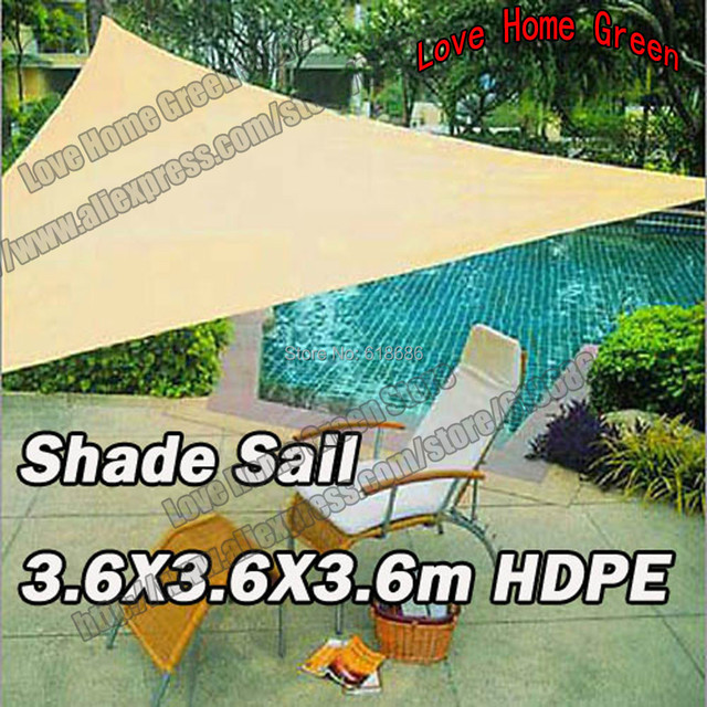 Garden Sun Shade Net Combination Sun Shade Sail UV HDPE Triangular 3.6m X  3.6m