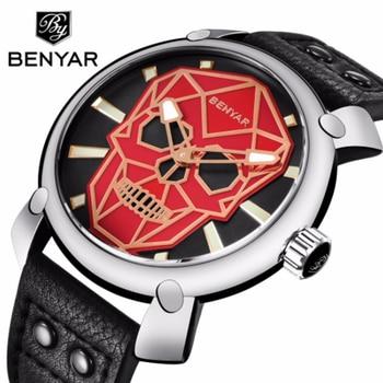 Creativo del cráneo de la moda Reloj deportivo Benyar Cuero militar relojes de pulsera para hombres Reloj Relogio Reloj Hombre 2018