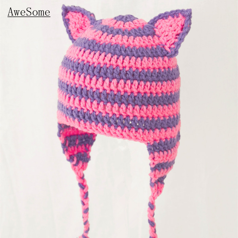 7c9b8f2e0cec58 Pink and Purple Cheshire Cat Ears Earflap Hat,Handmade Knit Crochet Baby  Girl Cute Animal Hat,Kids Winter Hat,Toddler Photo Prop-in Hats & Caps from  Mother ...