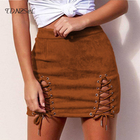Womens Suede Leather Sexy Bandage Hollow Out Above Knee Short Mini Skirts Slim High Waist Solid Skinny Pencil Skirt 2018 Summer