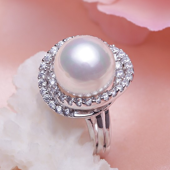 Femmes cadeau mot 925 Sterling réel [perle brillante] Nanyang perle noir perle anneau, S925 mariage