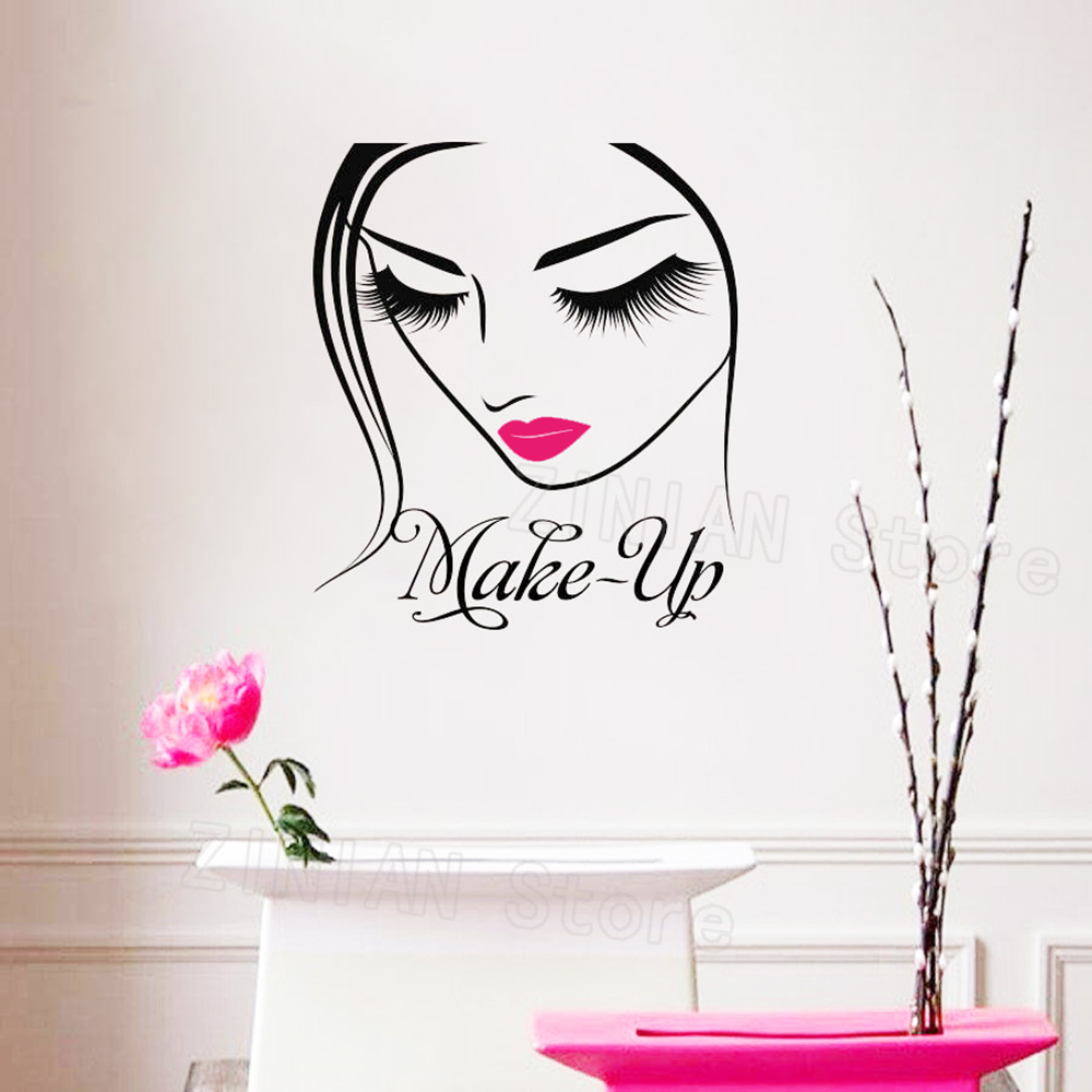 Salon Maquillage Us 8 58 25 Off Make Up Artist Sign Wall Decal Makeup Design Beauty Salon Maquillage Fashion Style Image Cosmetic Cosmetology Vinyl Sticker Z385 In