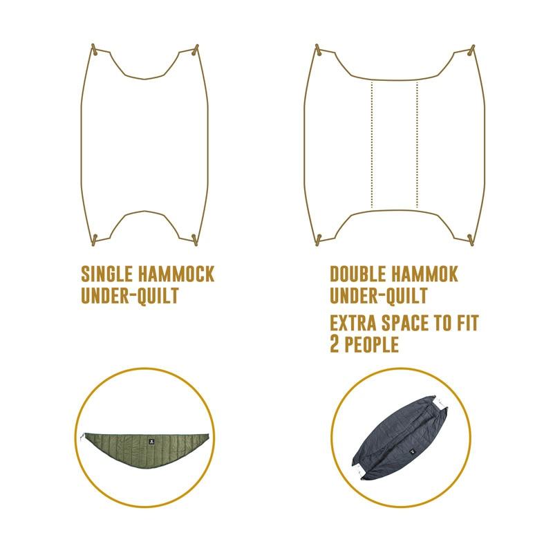 OneTigris Double Hammock Under-Quilt Lightweight Full Length Hammock Underquilt Under Blanket 40 F to 68 F (5 C to 20 C)