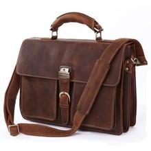Maletin Hombre 100% Genuine Leather Bag Crazy Horse Men's Handbags Business Shoulder Lawyer Briefcase Messenger Laptop Totes