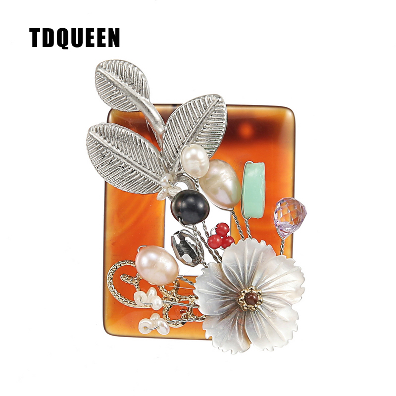 TDQUEEN Brooches Natural Shell Flower Broches Antique Silver Plated Handmade Safety Pin Jewelry Natural Stone Wedding Brooch