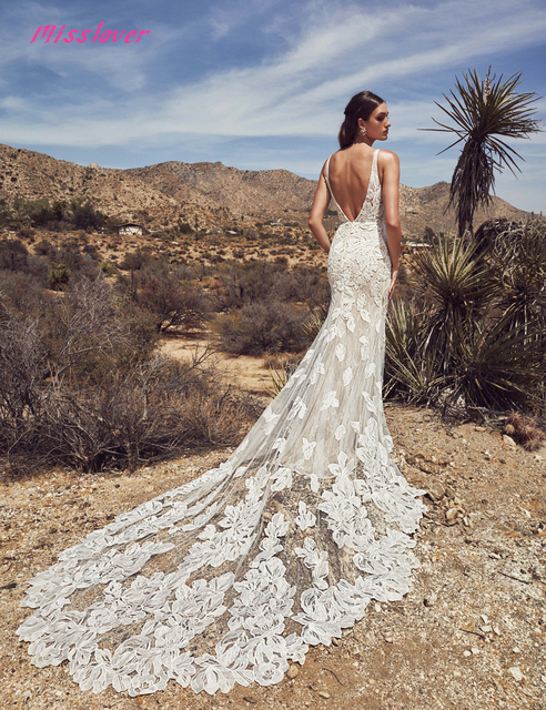 Silky Organza Vestido De Noiva Luxury lace Mermaid Bride Wedding Dress 2021 new Bridal Gown Sexy V-neck backless Robe de mariee 4