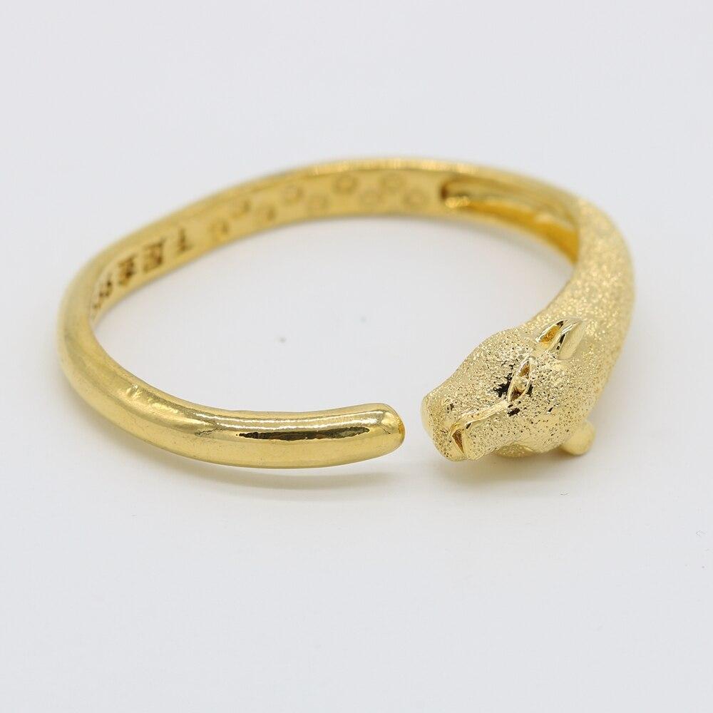 Cabeça de leopardo Pulseira de Ouro Amarelo