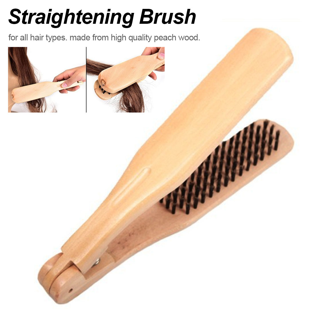 1Pcs Straightening Natural Styling Tools Hair Dressing Wooden Straightener Hair Double Sided Brush