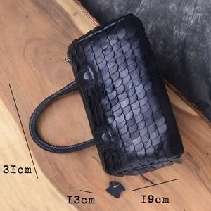 Image 5 - AETOO Retro fashion winter big bag portable fish scales sheepskin handbags fashion Europe shopping fashion handbags