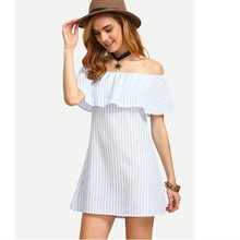 zogaa 2018 new Ladies Sexy Strapless Striped Boat Neck Beach dress falbala wide boat neck white women free shipping