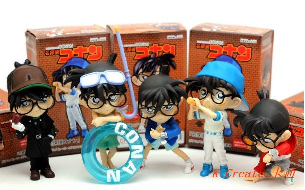 ФОТО 5pcs Japan anime Detective Conan sport style pvc figure toy tall 15cm set.