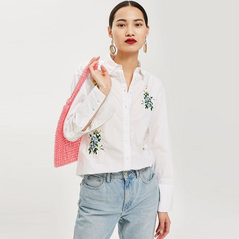 HDY Haoduoyi Women Embroidery Floral Blouse Turn down Collar Long Sleeve Brief Loose Casual 2019 New Arrival Tops for Female in Blouses amp Shirts from Women 39 s Clothing