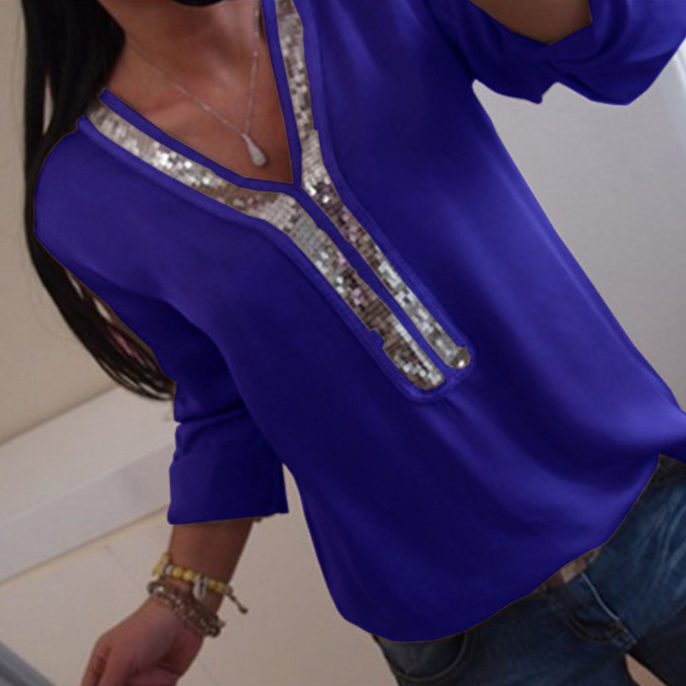 5XL Plus Size Chiffon Womens Tops And   Blouses   Casual Sequin Long Sleeve Slim   Shirts   Solid Spring V Neck Female   Blouse     Shirt