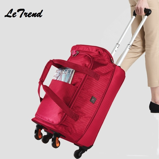 New Fashion 20 inch Waterproof Backpack Travel Bag Spinner Trolley Carry On Wheels Women Multi-function Bag