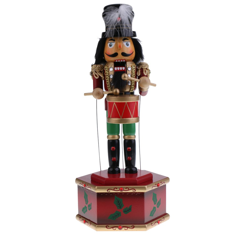 boneca de quebra nozes madeira 32cm estatueta 04