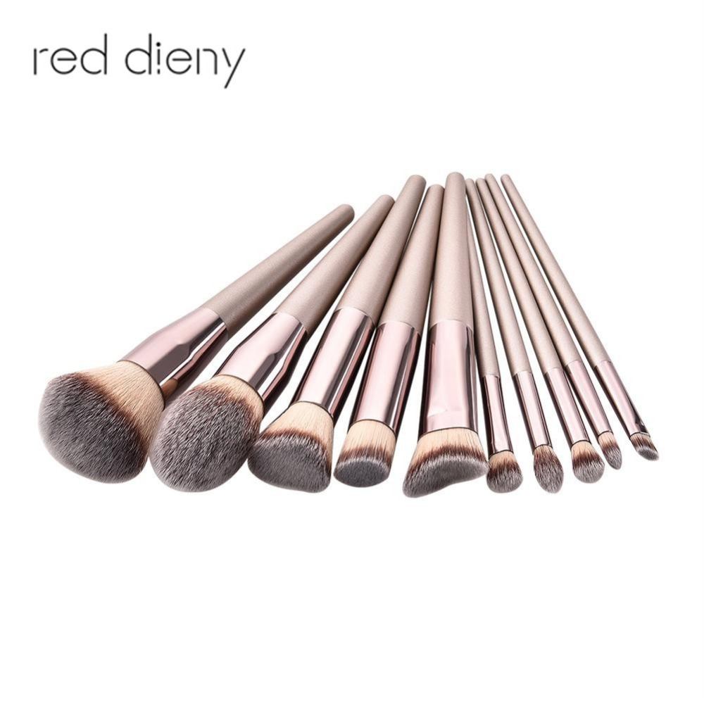 10PCS Makeup Brushes Set High Quality Champaign Gold Loose Powder Eyeshadow Foundation Cosmetic Makeup Brush Kit Dropshipping
