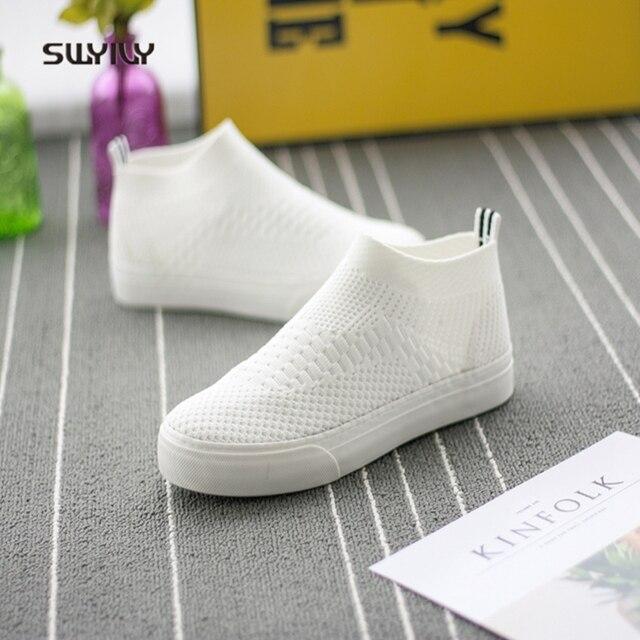 SWYIVY Sapatos Tênis Branco Mulher Primavera Verão 2018 High Top Marca  Projeto Lady Tênis Respirável Sapatos 638c55e464ed9