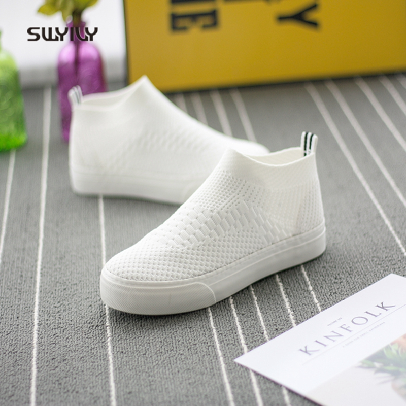 SWYIVY Shoes White Sneakers Woman Spring Summer 2018 High Top Breathable Female Canvas Shoes Flat Brand Design Lady Sneakers 40