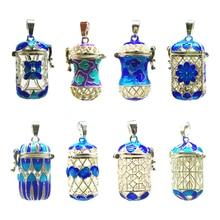MagiDeal эфирное масло духи цилиндр диффузор медальон кулон синяя эмаль филигрань полый цилиндр цветок шкатулка 8 видов стилей