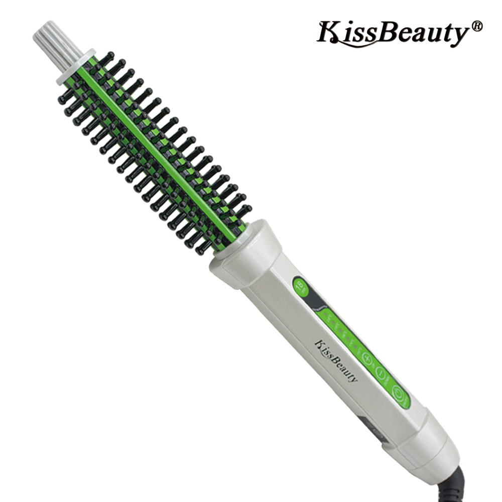 Kissbeauty 3 In 1 Ceramic  Electric Hair Curler Comb Hot Hair brush Hair Straightener Brush 2017 new hot sale professional salon ptc heating white color ceramic negative ions steam automatic hair curler hair style tools