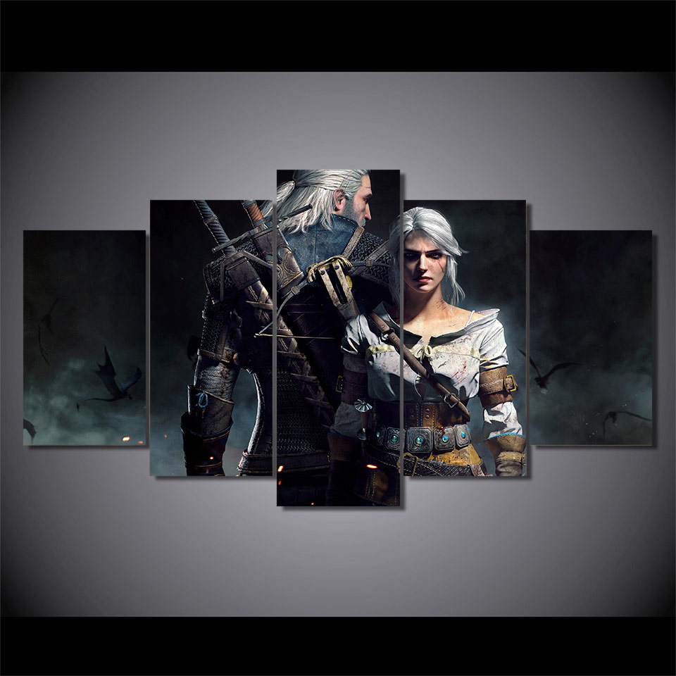 Framework Canvas Painting Poster For Living Room 5 Panel Witcher Wild Hunt Game Wall Art Home Decor Modern HD Printed Pictures 1