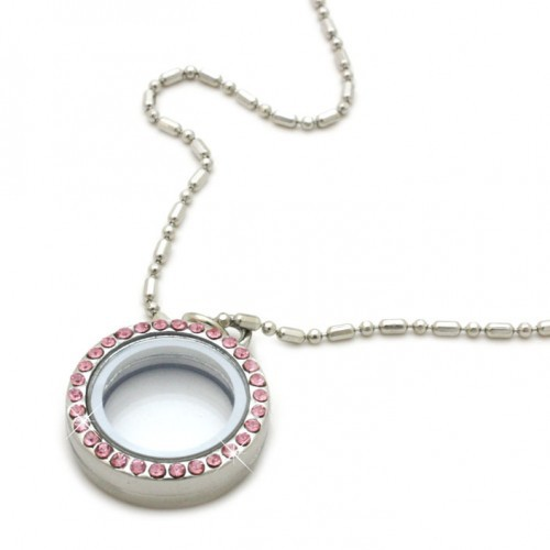 High Quality (10 pcslot) Free Shipping Alloy 20mm Pink Crystal Circle Magnetic Open Glass Memory Living Floating Locket