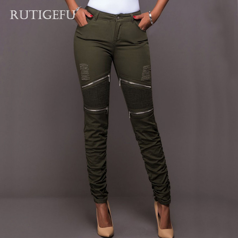 Womens pants Hole new Slim compression pleated zip stretch stitching pants Slim comfortable trousers Ms. casual pants 1286#