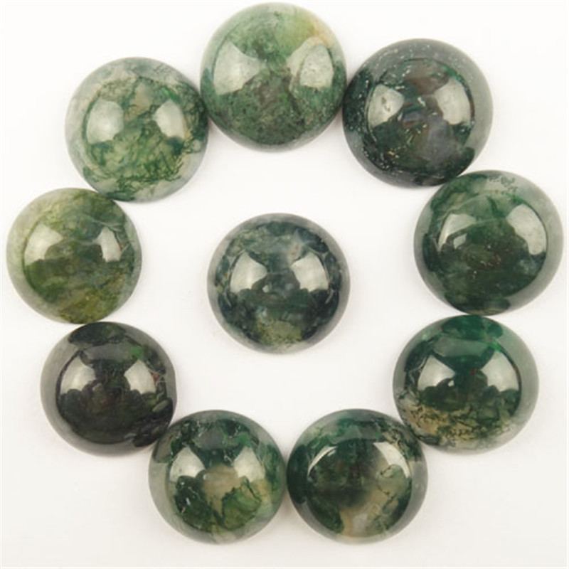 AB 10Pcs 18x6mm Moss Agates Round Cab Cabochon Free Shipping Fashion Jewelry Dw025