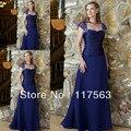 Elegante a linha da luva do tampão até o chão longo azul royal mãe da noiva vestido de chiffon MQ042