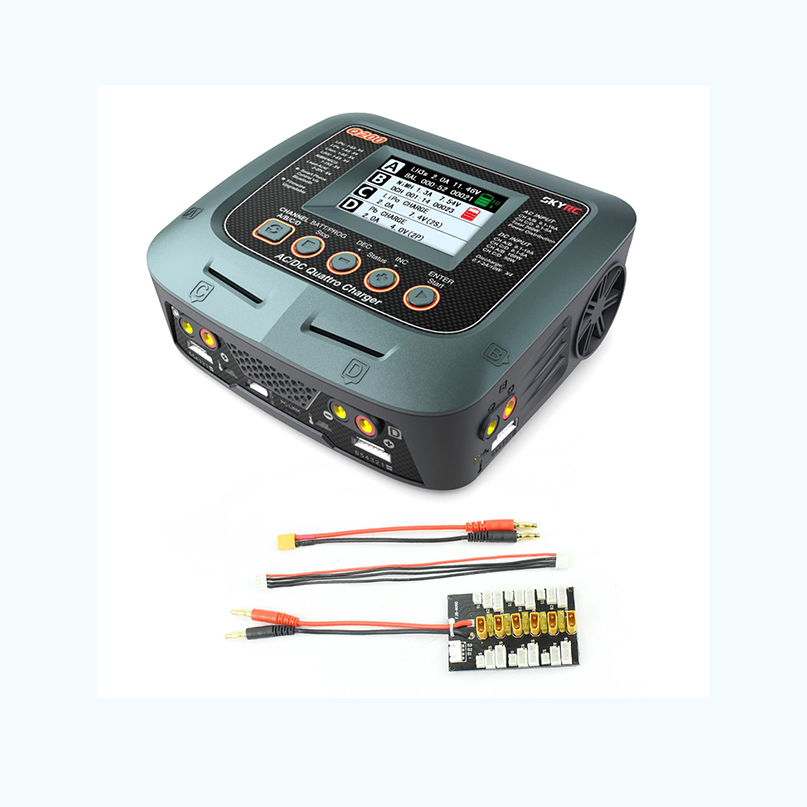 SKYRC Q200 1 to 4 Intelligent Balance Charger/Discharger AC/DC Drone with XT30 1S 3S Plug Parallel Charging Plate 4.0mm
