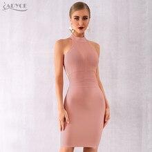 Adyce 2020 חדש קיץ נשים אדום Bodycon תחבושת שמלת Vestido אלגנטי סקסי חלול החוצה ללא משענת מועדון שמלת סלבריטאים מפלגה שמלה