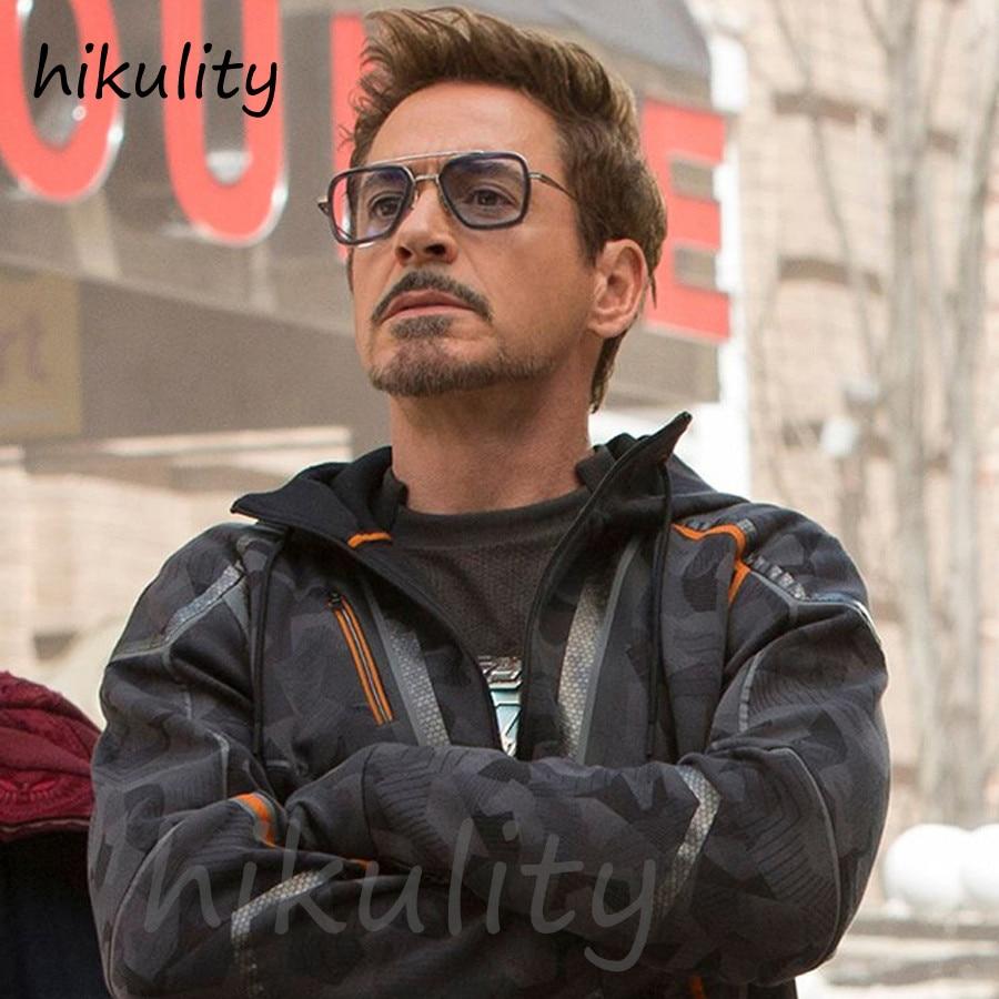 Avengers Infinity War Tony Stark gafas de sol marca de lujo Iron Man gafas rectangulares Vintage superhéroe gafas de sol transparentes para hombres