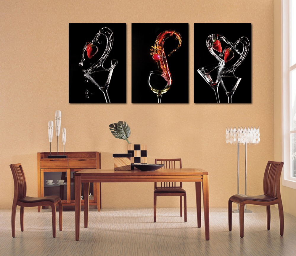 3 Piece Canvas Wall Art Wine Glasses Paintings Abstract Red Painting For Dining Room