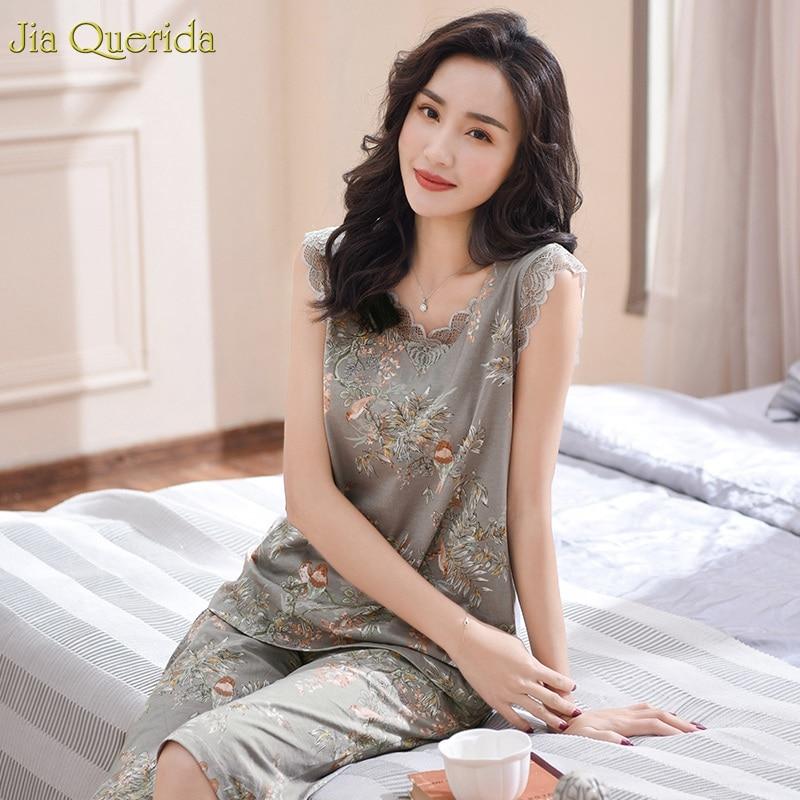 Womens Pajamas Plus Size Grey Floral Elegant Home Wear Clothings 100% Pure Cotton Lace Applique Summer Short Womens Pajama Set