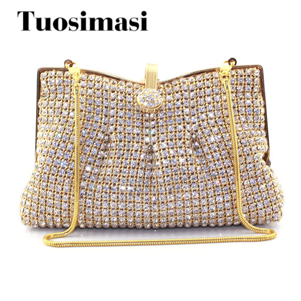 Bag Women Handbag Bling Ladies Clutches Golden Rhinestone Clutch Evening Bag  Metal Mesh Soft Bags animal d29aa8ded6e5