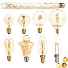 E27 LED 에디슨 전구 디 밍이 가능한 레트로 탄소 램프 E14 220V A60 T30 G80 ST64 G95 G125 빈티지 텅스텐 실내 조명 장식