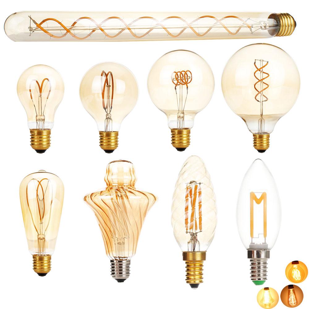 E27 LED Edison Light Bulb Dimmable Retro Carbon Lamp  E14 220V A60 T30 G80 ST64 G95 G125 Vintage Tungsten Indoor Lighting Decor