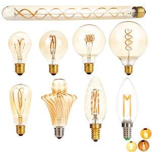 Image 1 - E27 LED Edison Light Bulb Dimmable Retro Carbon Lamp  E14 220V A60 T30 G80 ST64 G95 G125 Vintage Tungsten Indoor Lighting Decor